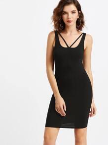 Black Strappy Scoop Neck Tank Dress