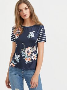 Navy Floral Print Striped Sleeve T-shirt
