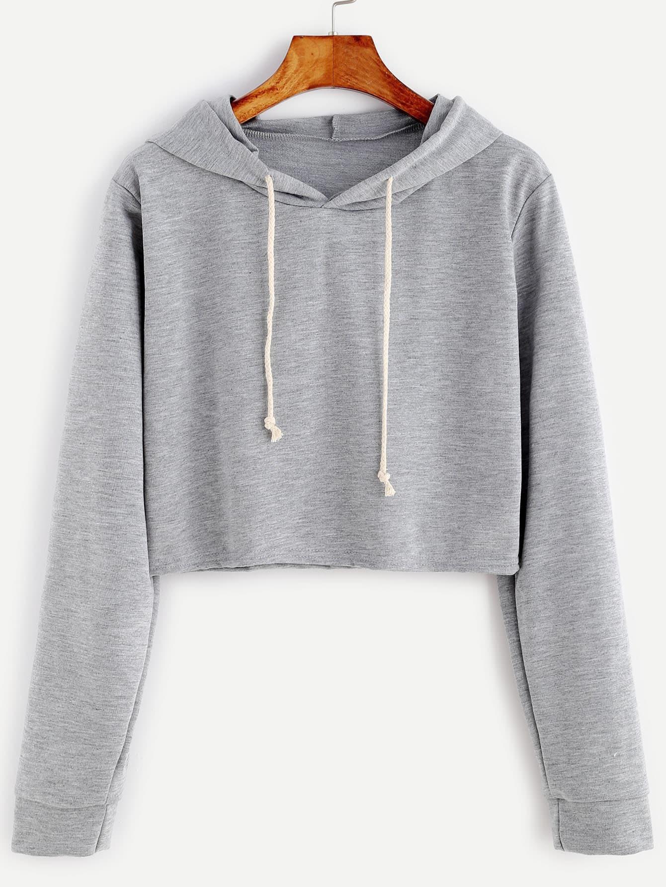 Pale Grey Drawstring Hooded Crop Sweatshirt EmmaCloth-Women Fast ...