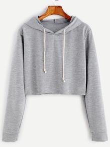 Pale Grey Drawstring Hooded Crop Sweatshirt