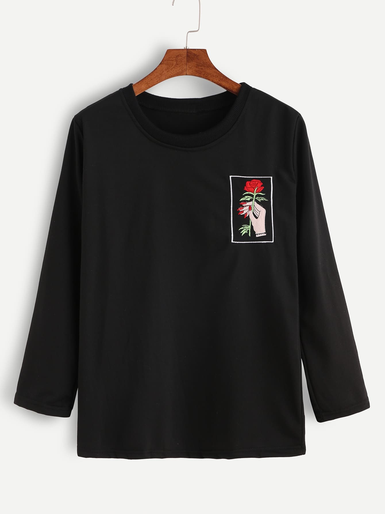 Black hand and rose embroidery t shirt emmacloth women