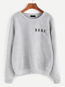 Light Grey Letter Print Sweatshirt
