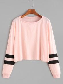 Pink Varsity Striped Sleeve Crop T-shirt