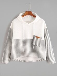 Contrast Striped High Low Drawstring Hooded Pocket Sweatshirt