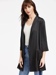 Black Shawl Collar 3/4 Sleeve Belted Kimono