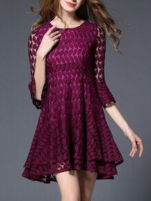 Purple Bell Sleeve Leaves Crochet Hollow Out Dress