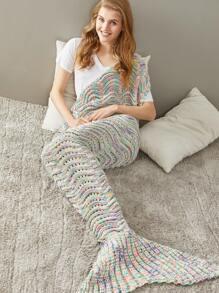 Multicolor Marled Wave Knit Eyelet Mermaid Tail Blanket