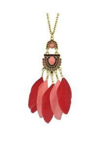 Red Color Feather Long Pendant Necklaces