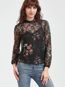 Black Flower Embroidered Lace Top With Cami