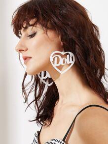 White Hollow Out Heart Shape Drop Earrings