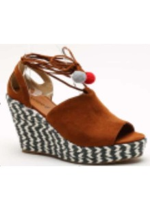 Brown Suede Peep Toe Pom Pom Thick-soled Wedges