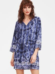 Blue Tie Dye Print Tassel Tie Neck 3/4 Sleeve Dress