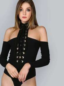 Off The Shoulder Lace Up Choker Bodysuit BLACK