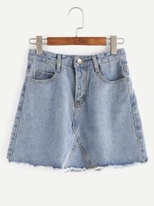 Blue Raw Hem Denim Skirt