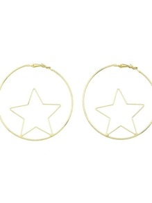 Fashion Gold Color Star Shape Big Hoop Earrings