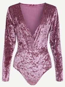Pink Deep V Neck Velvet Bodysuit