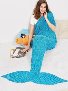 Blue Marled Knit Textured Mermaid Tail Blanket