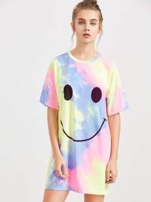 Multicolor Pastel Tie Dye Print Short Sleeve Tee Dress