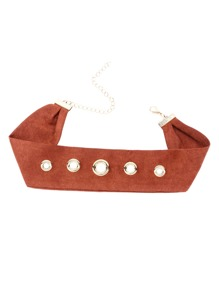 Brown Suede Leather Eyelet Wide Choker