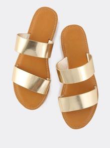 Metallic Duo Strap Sandals GOLD