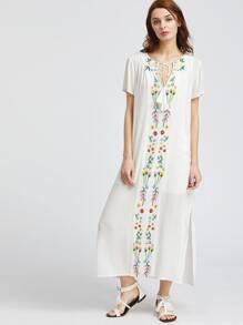 White Tassel Tie Neck Embroidered Dress Set