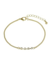 Simple Model Rhinestone Gold Color Chain Bracelets