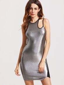 Metallic Silver Contrast Panel Cutout Shoulder Bodycon Dress