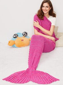 Hot Pink Marled Cable Knit Mermaid Tail Blanket