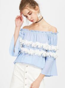 Blue Contrast Applique Flower Trim Off The Shoulder Top