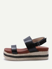 Black Sparkle Strappy Espadrille Flatform Sandals