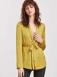 Yellow Shawl Collar Pocket Front Belted Blazer