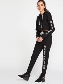 Black Letter Print Hoodie With Sweatpants