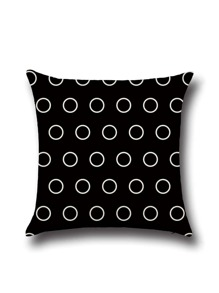 Black Polka Dot Print Pillowcase Cover
