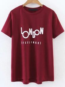 Red Letter Print Casual Tee