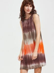 Multicolor Tie Dye Print Sleeveless Dress