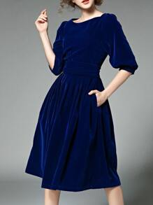Blue Pockets Velvet A-Line Dress