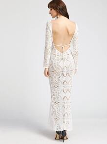 White Scoop Back Hollow Out Embroidered Lace Dress