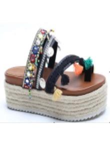 Black Peep Toe Coin Fringe Trim Sandals