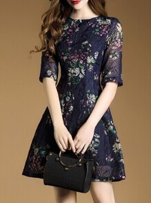 Navy Mesh Flowers Print A-Line Dress