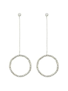 Silver Color Elegant Rhinestone Circle Shape Pendant Earrings