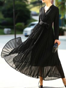 Black V Neck Pleated A-Line Dress