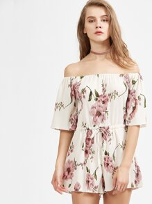 Red and White Off The Shoulder Floral Jumpsuit