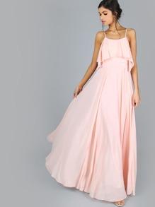 Cold Shoulder Frill Flow Maxi Dress BLUSH