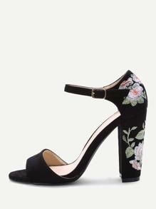 Black Velvet Florals Chunky Heel Sandals
