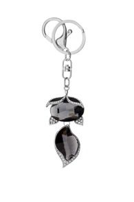 Silver Trim Black Crystal Fox Pendant Keychain