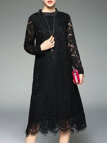 Black Mesh Lace Shift Dress