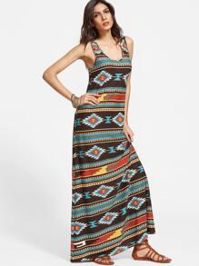 Multicolor Tribal Print Scoop Neck Tank Dress