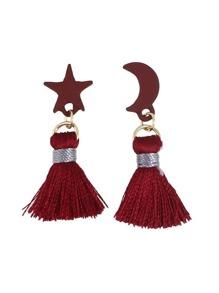 Red Color Moon Star Shape Thread Tassel Earrings