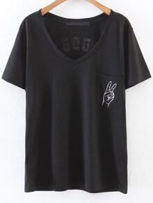 Black Letter Print V Neck T-Shirt With Pocket