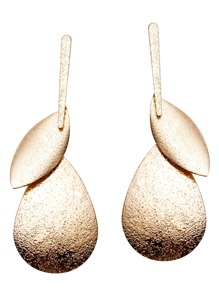 Gold Etched Plate Earrings